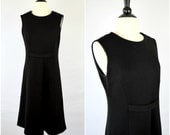 Vintage Shannon McLean black ribbed knit sheath dress / Peace Love and Fashion sleeveless holiday dress