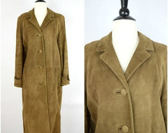 Vintage long brown luxurious suede coat / bohemian soft leather jacket
