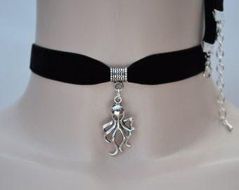 OCTOPUS Charm Pendant  -  BLACK 16mm Velvet Ribbon Choker Necklace -tf... or choose another colour velvet from 28 options :)