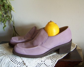 Vintage 7-1/2 Lavender Suede Nu-Buck Loafers/Shoes,Kenneth Cole Reactions =Out of Sight 7.5 LIKE NEW