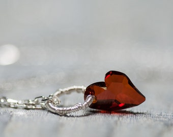Crystal Heart Necklace, Valentine Gift, Valentine Jewelry, Swarovski Necklace, Valentine Necklace, Gift For Wife, Gift For Girlfriend, Heart