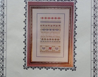 20%OFF Just Nan TOMORROW's FLOWERS Sampler Charted Needlework Design Kit - Counted Cross Stitch Pattern Chart