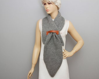 Knitted  scarf long scarf ,woman scarf, gift ,grey