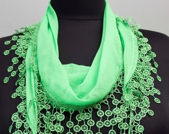 Fringed lace scarf ,triangle lace scarf , guipure scarf, flowered ,woman scarf, Plain ,green