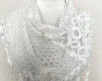 triangle  Bridal Shawl scarf knit flowers neck warmer snowy white glittering lace