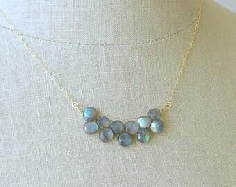 14k Solid Gold: Labradorite Bib Necklace