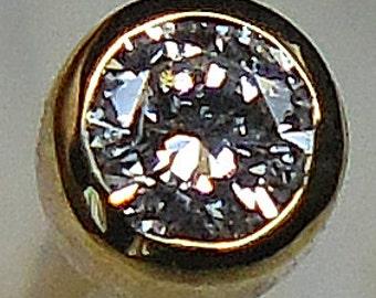 DIAMOND / 14K gold nose stud (2mm) READY To SHIP