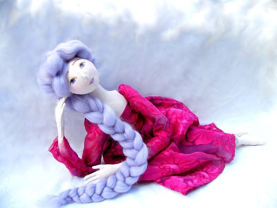 ART DOLL pink jointed handmade cloth doll easter mother day spring soft sculpture OOAK soft doll