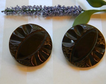 Large Matching Brown Vintage Bakelite Buttons