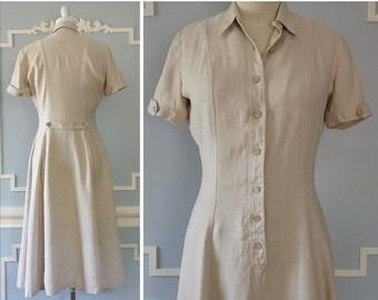 20% OFF - 1940s Safari Dress --> Cotton/Linen Dress --> 1940s Vintage Dress --> Vintage 1940s Dress --> 1940 Dress --> 40s Dress --> Cream D
