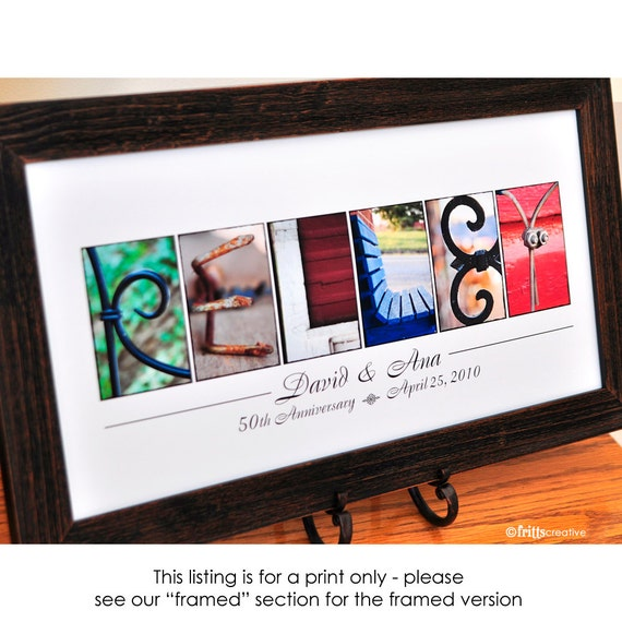 Anniversary  Name Print in Alpahabet  Photo Letters UNFRAMED, personalized last name sign, anniversary gift