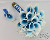 "4 Piece Package Silk Flowers Wedding Bridal Party Bouquets Picasso Real Touch Calla Lily Lilies ROYAL BLUE WHITE ""Lily of Angeles"" BLWT04"