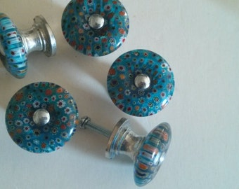 Teal Blue Millefiori Glass Knob