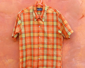 Vintage 1950s 1960s Boy's Orange Yellow Plaid Short Sleeve Button Down Shirt. Size 14 16. 14 1/2 Small. Towncraft Prep. Preppy