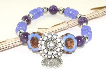 Catholic Bracelet, Our Lady of Sorrows Handmade Stretch Bracelet