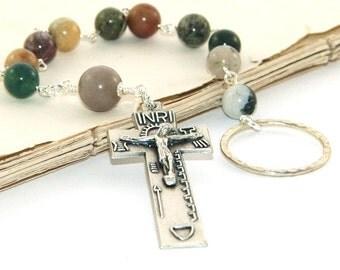 Irish Penal Rosary, Jasper Beads with Penal Crucifix