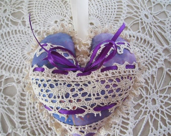 Purple and Ivory Shabby Heart