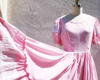 Vintage 50s Square Dance Dress, Pink Patio Dress, 1950 Cotton Picnic Dress, Rockabilly Dress, Pink Gingham, Full Skirt Dress