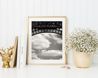 Paris Eiffel Tower. Fine Art Photography. Paris Print. Eiffel Black White Art Print. Clouds Sky. Eiffel Tower Décor. Wall Art. Paris Decor.