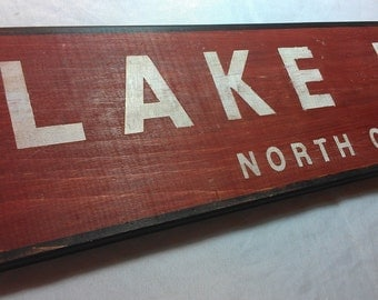 Custom Lake Wood Sign with City or State - Hand Crafted Custom Wooden Decor