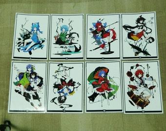 Touhou Project Art Sticker 8Pcs. Shinmyoumaru, Seija, Kagerou, Sekibanki Free shipping