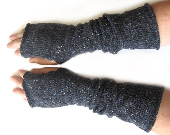 Knitted Long Fingerless Gloves, Thumbhole Arm Warmers, gifts for men