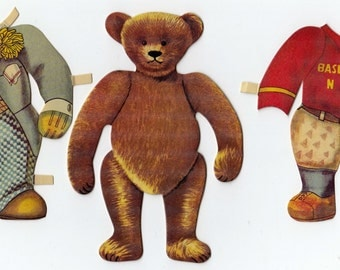 Father and Son Teddy Bear Paper Dolls with Multiple Costumes Scrapbooking Decoupage Media Arts Journals Paper Art