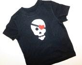 Ahoy Matey - Pirate Valentine shirt boy, baby, tween, toddler Valentine skull with red heart eye patch NB  - 16