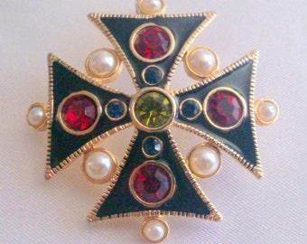 Vintage Gold Tone Enamel Rhinestone and Pearl Maltese Cross Brooch Pendant