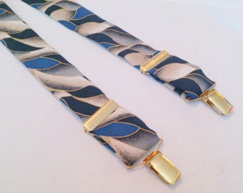 Pelican USA Brand blue Grey and Gold Print Suspenders Braces