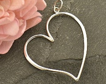 Sterling Silver Large Open Heart Pendant - cj3101, Open Heart, Connector Heart, Bridesmaids Gifts, Curvy Heart, Bridal Party Gifts, Teacher