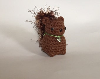 Crocheted Baby Squirrel - hand crocheted squirrel - squirrel amigurumi - Made To Order