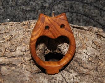Olive Wood Pendant, wood jewelry, wood grain,owl