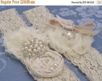 FALL SALE Lace Garter Wedding Garter / Vintage Bridal Garter Set Toss Garter included  Ivory with Rhinestones and Pearls  Custom Wedding col
