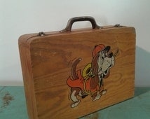 Vintage wooden suitcase, school box, old wood suitcase, wooden box, from the  70s,