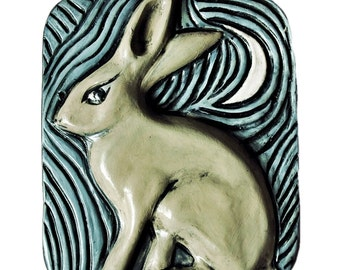 Jack Rabbit With Moon Carved Pottery Animal Tile Wall Hanging