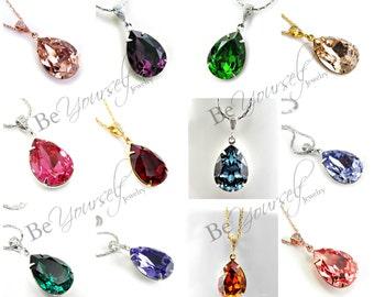 Swarovski Crystal Necklace Bridal Necklace Teardrop Bride Necklace Bridesmaid Gift Wedding Jewelry Bridesmaid Necklace Choose Your Color
