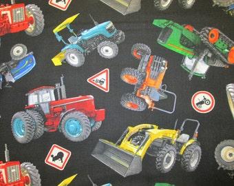 Tractors Farm Signs Black Machines Colorful Cotton Fabric Fat Quarter Or Custom Listing