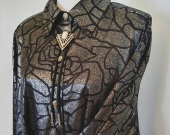 80s Liquid Silver Top Large