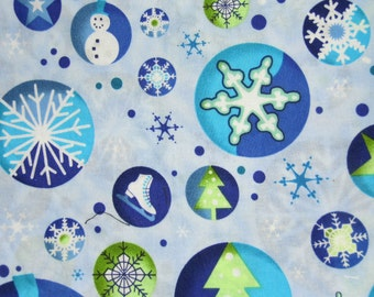 Christmas Winter Wonderland Snowman Snow Snowflake Blue Holiday Cotton Fabric 24 inches Remnant