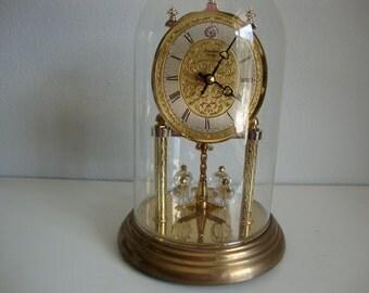 Vintage  Anniversary Clock, Linden Quartz, Glass Dome,  Not working,