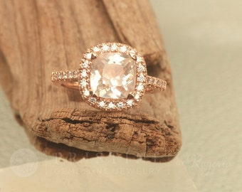 SOLD Cushion Peach Champagne Sapphire 2.9cts Gemstone Engagement Ring 14k Rose Gold Diamond Halo Vintage Style Weddings Anniversary