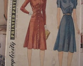 Vintage Sewing Pattern 1940s Button Front Tailored Dress