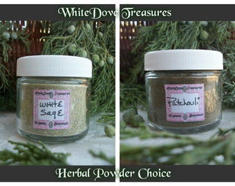 WHITE SAGE POWDER or Patchouli Powder - Fresh Ground Herbal Incense Smudge Organic Protection Purification Clear Chakra Aura 1oz Jar Gift