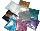 SOLVENT RESISTANT HOLOGRAPHIC Glitter Sampler Set for Glitter Nail Art, Glitter Nail Polish and Glitter Crafts