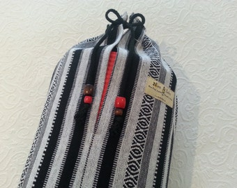 Yoga mat bag - Mexican woven stripe fabric - PURE COTTON - large bag with draw string. Beware of synthetic / acrylic imitations.