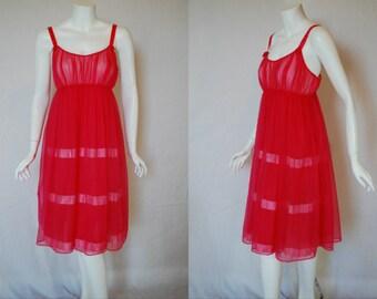 1960s Shadowline Raspberry Pink Nightgown, 34, Small, Medium
