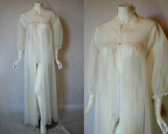 1950s Vanity Fair Off White Sheer Robe, small, medium, Peignoir Dressing Gown