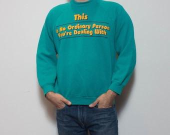 "LRG  1990's Message Tee Crew Neck Sweatshirt ""No Ordinary Person"" 50/50"