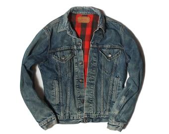 MED | 38 L | Levi's Plaid Flannel Lined 4-Pocket Denim Jacket Double Tow Stitch